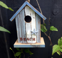 Nautical Beach Distressed Wooden Hanging Garden Bird House
